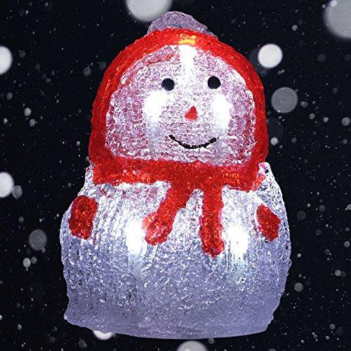 keine Angabe LED-Acryl-Schneemann 16x11cm Winterdeko Weihnachtsdeko Weihnachtsfigur Dekofigur, Farbe:rot