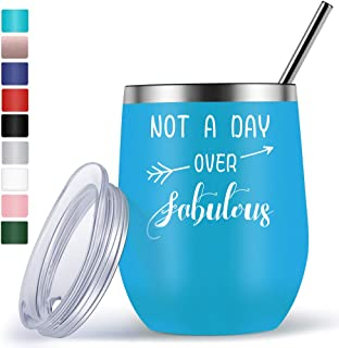 Wine Gifts for Mom Grandma Friend Funny Unique Birthday Gifts for Women Her - 12oz Wine Tumbler with Funny Sayings Not A Day Over Fabulous - Wine Accessories Gift Boxes - Blue