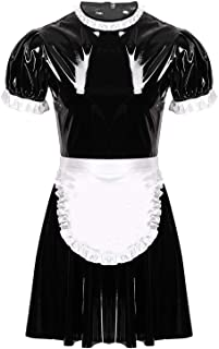 easyforever 2Pcs Men's Wet Look Patent Leather Sissy Maid Cosplay Costume Set Flared Dress with Apron Nightwear