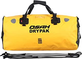 Motorcycle Dry Duffle Tail Bag 500D PVC Waterproof Saddle bag Luggage Reflective Yellow 60L for Motorcycling, Hiking, Cycling, Travel, Camping, Outdoor, Boating