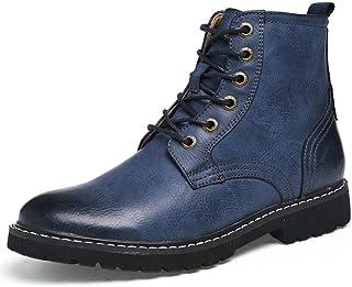 YAN Zapatos De Hombre De Cuero Otoño & Invierno Martin Botas De Encaje De Alta Top Zapatos De Senderismo Formal Zapatos De Vestir Zapatos Casuales/Diarios Caminar,A,43