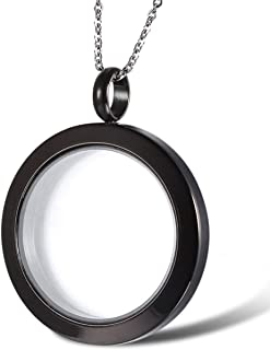 OIDEA Stainless Steel DIY Locket Living Memory Round Floating Charm Pendant Necklace for Men Women Kids Teens,Christmas,Birthday Gifts