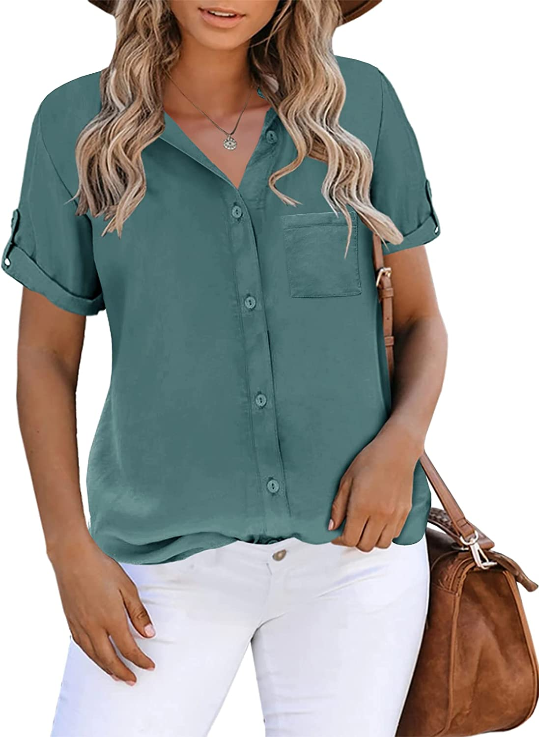 Inorin Womens Button Down Shirts Translated Work Busi Short Sleeve Inventory cleanup selling sale Collared