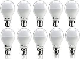 Syska SRL Base B22 9-Watt LED Bulb (Pack of 10, Cool White)