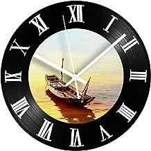 PENFU Wall Clock Boat Decorative Vinyl Record Wall Clock Silent Ship Vintage Vinyl Living Room Record Clocks Roman Numbers...