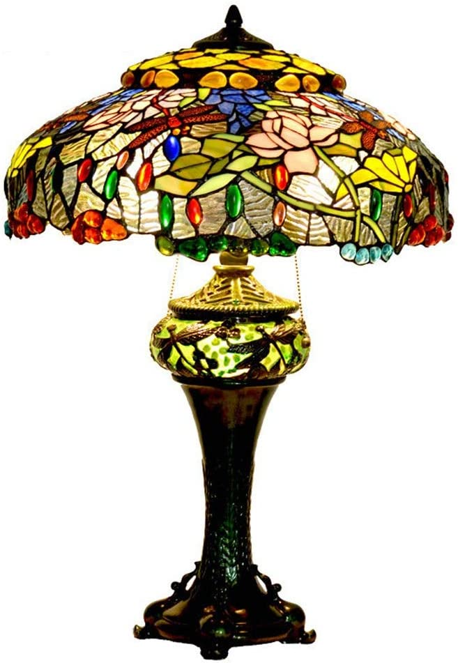 YANG1MN 18 Inch Retro Glass Table Lamp Flower Genuine Max 58% OFF Free Shipping Lotus Classic LED