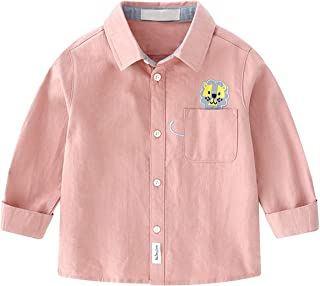 famuka Boys Long-Sleeve Solid Button Down Dress Shirt