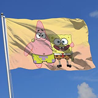 LJIAQI Spongebob with Patrick Star Flag 3x5 Ft Single-Sided Printed Polyester Home Flag Banner