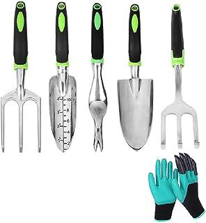 Garden Tool Set 6 Piece Green Quality Aluminum Alloy Outdoor Garden Tool Kit Including Transplanter,Trowel,Cultivator,Hand...