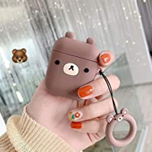 UR Sunshine AirPods Case, Super Cute Animal Shape Serie AirPods Cover Case, Creative Fun Animal Style Matte Surface Soft Silicone Gel Earphone Case AirPods 1/AirPods 2 -Brown Bear