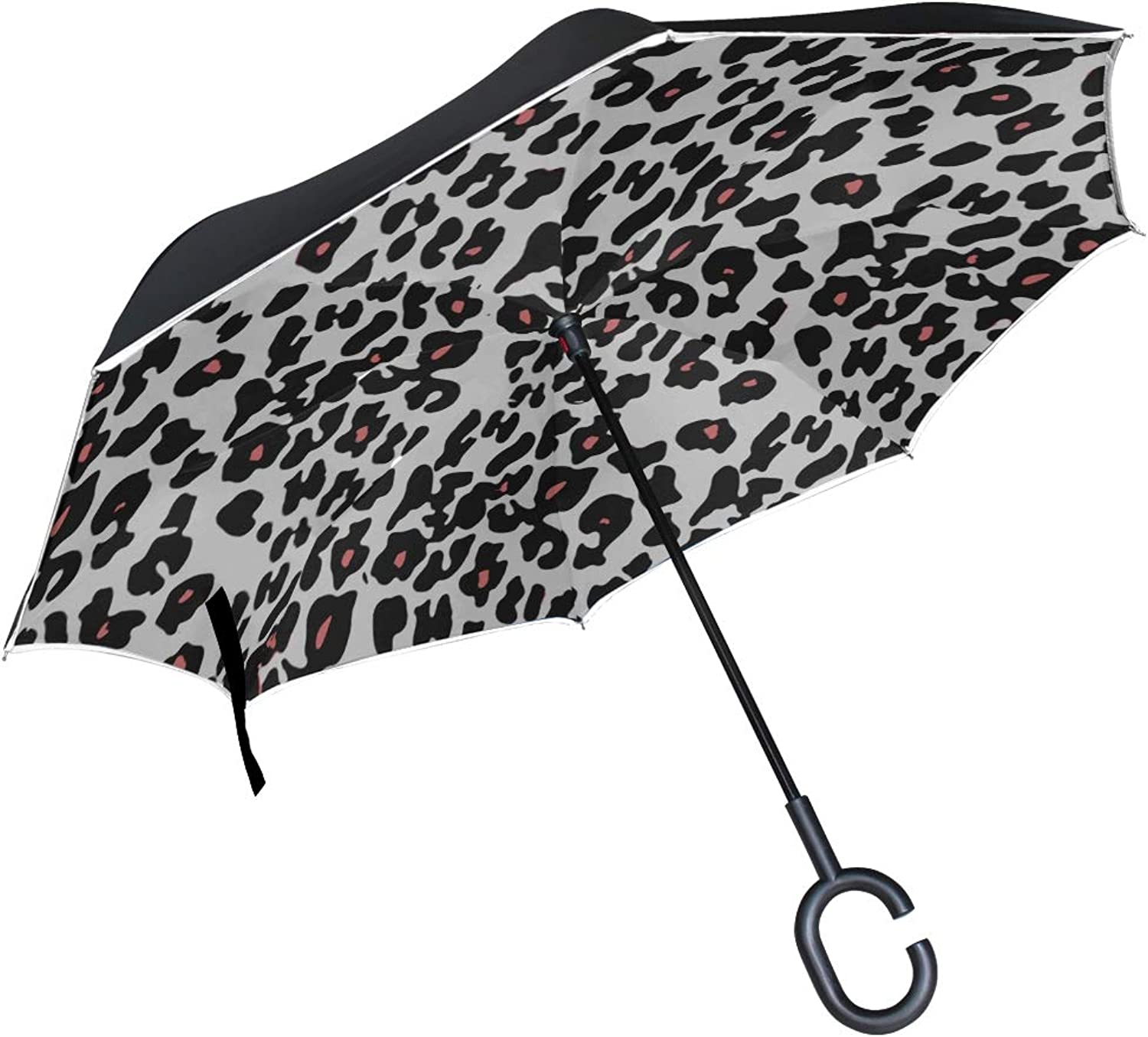 Double Layer Ingreened Animal Skin Pattern Vector Umbrellas Reverse Folding Umbrella Windproof Uv Predection Big Straight Umbrella for Car Rain Outdoor with CShaped Handle