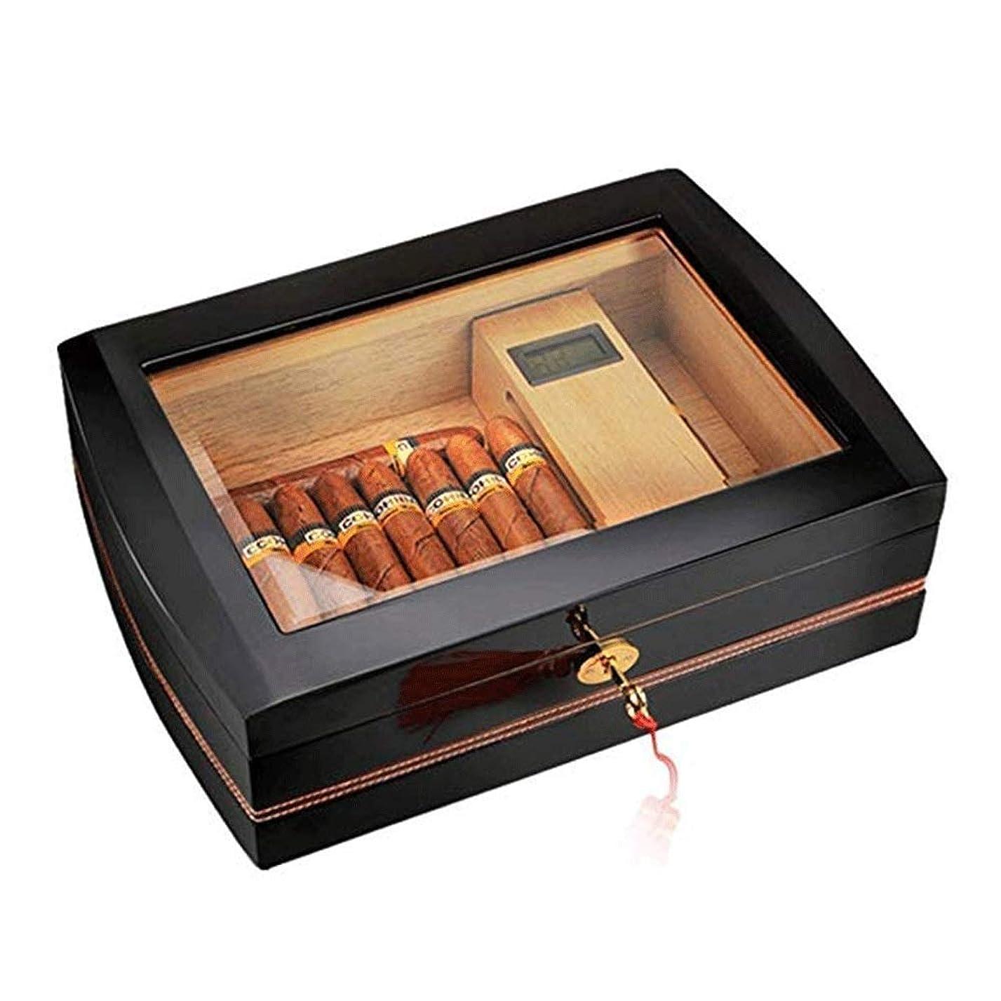 スラム全体盆シガーボックス、シガーヒュミドール シガーボックスヒュミドール、透明なまろやかな木材大容量保湿ボックス保湿シガレットケース卵収納ボックス木製ボックスシガレットボックスシガーキャビネット