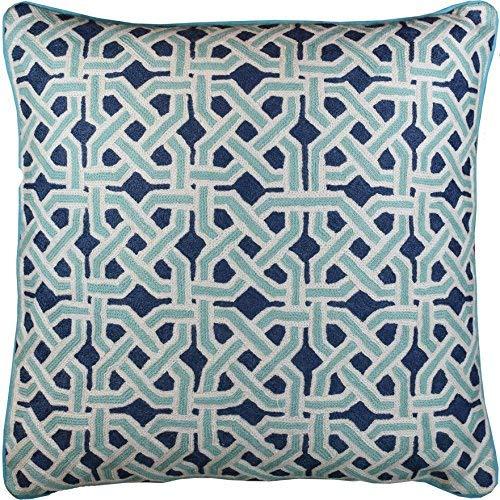 Kashmir Designs Blue Geometric Throw Pillows |Celtic Knot Turquoise Modern Boho Pillowcase | Outdoor Chair Cushion |Suzani Cushions | Modern Chair Cushion | Hand Embroidered Cushions Wool Size 20x20