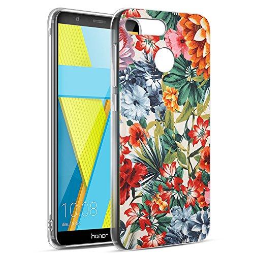 Eouine Cover Honor 7X, Ultra Slim Cover Trasparente con Disegni, Morbido Antiurto 3d Cartoon Gel Bumper Case Custodia in TPU Silicone per Huawei Honor 7X (Fiore colorato)