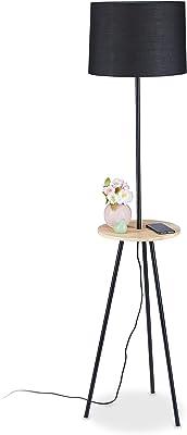 Relaxdays Lampadaire trépied avec table, HxD: 151 x 36 cm,; 3 pieds, abat-jour en tissu, prise E27, métal, bois, noir