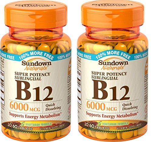 Sundown Naturals Sublingual B-12 6000 Mcg Tablets, 60 Count (Pack of 2)