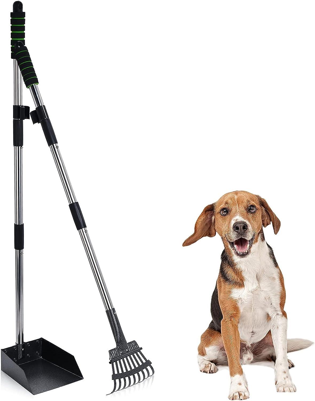 RENJINGG Dog Poop Scooper trend rank Long Scoop Durable Metal Handle Save money