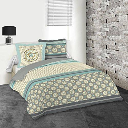 Lovely Casa AMARILLA Housse DE Couette 240X220 CM + 2 TAIES 63X63 CM, Coton, Gris
