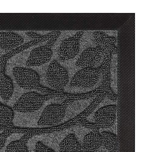 Aucuda Durable Indoor Outdoor Door Mat for Patio,18x30 in, Outside Welcome Mat-Fall Door Mat Outdoor-18x30 Inch,Front Door Mat Rug,Doormats for Entrance Way,Non Slip Waterproof,Grey Leaf Design