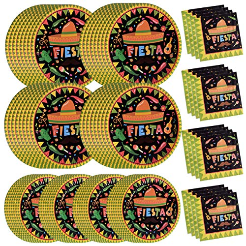 200PCS Fiesta Cinco De Mayo Party Supplies Paper Plates and Napkins Bulk 9 inch 7 inch Dessert Round Disposable Plates Green Eco Friendly Party Tableware Set (for Cinco De Mayo)