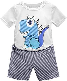 OverDose Ropa de la impresión de la Historieta de los bebés del Cabrito del niño de la Camiseta + Pantalones Cortos
