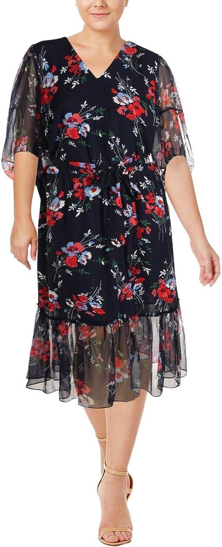 Lauren Ralph Lauren Womens Plus Dinalou Floral Print Drop Waist Casual Dress