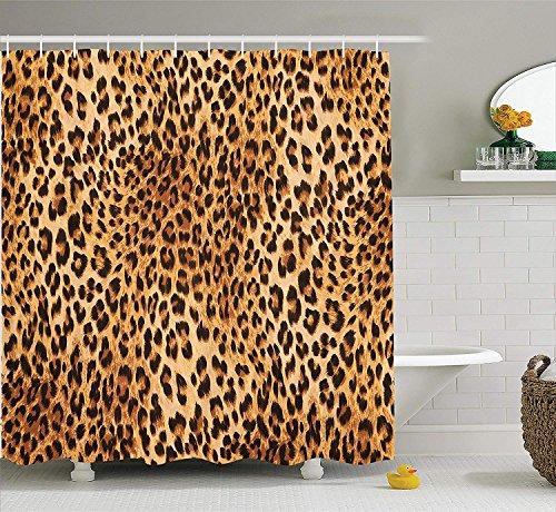 Nyngei Animal Print Colección Animales Salvajes Leopardo Patrón de Piel Inspirado con Vida Silvestre Ilustración Moderna Tela de Ducha Baño Cortina con s Marrón Beige
