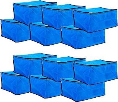 Amazon Brand - Solimo 12 Piece Non Woven Fabric Saree Cover Set, Large, Blue