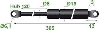 V/érin /à gaz 6//15 6,1 levage 80 l = 225 mm 100N