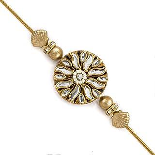 7b94e541b Aapno Rajasthan Golden Circular Kundan Studded Rakhi