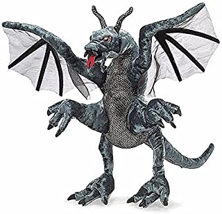 "Big Dark Dragon Hand Puppet 20"" Plush Stuffed Toy Fantasy Animal Doll"
