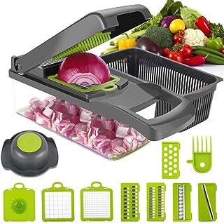 DUMAO Cortador de Verduras, Picador de Alimentos Rallador para Ensalada Mandolina Multifución para Frutas y Verduras Cuchillas de Acero Inoxidable Pica y Corta Fácilmente