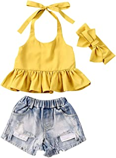 Fashion Kids Toddler Baby Girl Summer Outfit Sleeveless Halter Top + Denim Shorts Clothes Set