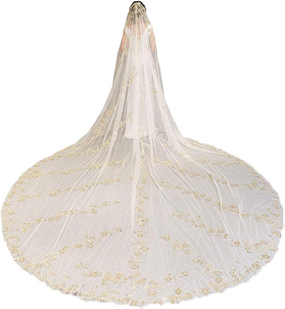 1T Golden Sequins Cathedral Wedding Veils Full Lace for Women with Metal Comb