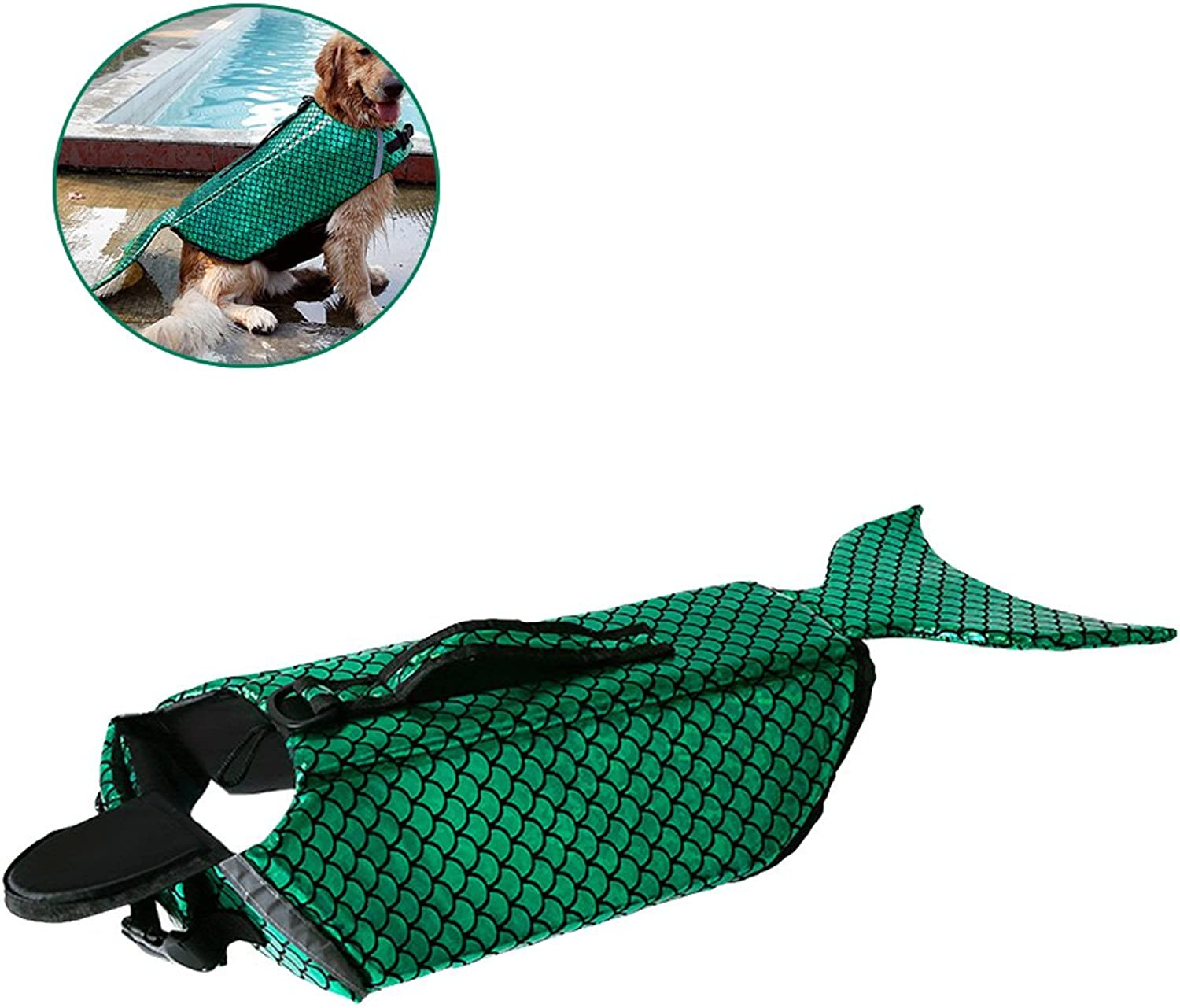 Artiron Dog Sequins Life Jacket Vest Saver Safety Swimsuit Preserver with Reflective Stripes Adjustable Belt for for Small Medium Large Size Dogs (Green, M)