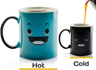 InGwest. Morning Coffee Mug. 11 ounce. Changing Color Mug For You And Your Friend. Ceramic Heat Sensitive Color Changing Coffee Mug. Novelty Heat Sensitive Mug With Funny Smile