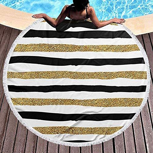 Duanrest strandhanddoek, rond, picknickkleed, groot tafelkleed van polyester, ronde yogamat, gestreept, zwart/goudkleuren