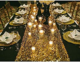 Bright Tricks 12 x 108 in Glitter Gold Sequin Thanksgiving Table Runner for Birthday Wedding Engagement Bridal Shower Baby Shower Bachelorette Gold Party Decorations Sequence Boho Bridal Tablecloth