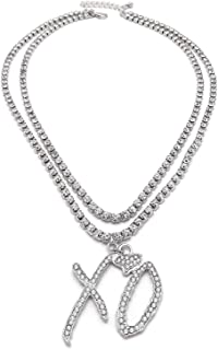 "Shiny Jewelers USA Mens Iced Out XO Gang Hip Hop Pendant 24"" Box, Rope, Cuban Chain Necklace"