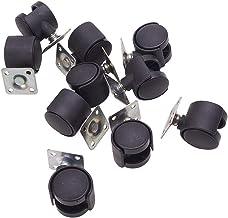 عجلات مزدوجة دوارة 2.54 سم من MroMax، لوحة علوية جبل عجلة دوارة لمكتب كرسي الأثاث المعدات الصناعية آلات سوداء 10 قطع