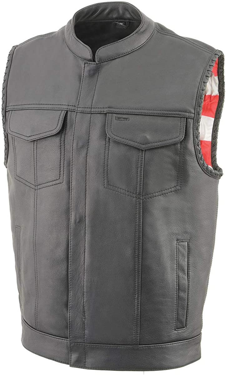 Milwaukee Leather MLM3508 Men's 'Old Glory' Black Leather Vest with Laced Arm Holes