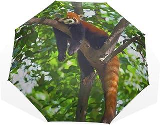 Paraguas de viaje Hermoso Lindo Rojo Panda Animal Anti Uv Compacto 3 Fold Art Ligero Paraguas Plegables (impresión exterior) Lluvia a prueba de viento Paraguas de protección solar para mujeres Niñas