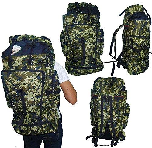 Mochila De Camping Camuflada Militar Impermeavel Para Viagem Trilha Acampamento Carga Verde (BSL-21296-3)