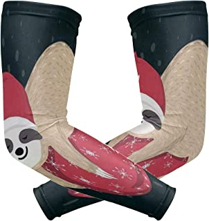 Arm Sleeves Santa Claus Reindeer Snowman Mens Sun UV Protection Sleeves Arm Warmers Cool Long Set Covers White