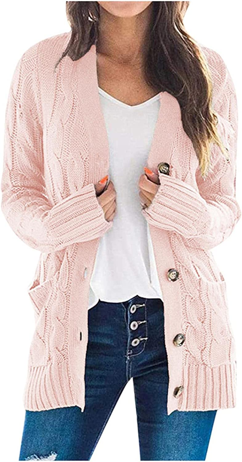 Womens Cardigans Plus Size Cardigan Sweater Open Front Chunky Knit Cardigan Lightweight Long Outerwear Coat Pockets