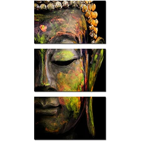 Amazon Com Kreative Arts Modern Buddha Head Portrait Painting Printed On Canvas Religion Wall Art Triptych Canvas Painting Home Decoration Wall Murals Ready To Hang Posters Prints