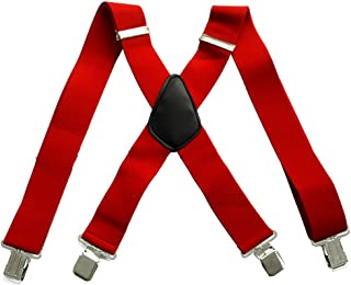 50mm Extra Wide Heavy Duty X-Back Adjustable Elastic Mens Suspenders Clip On Braces Trouser ac4615