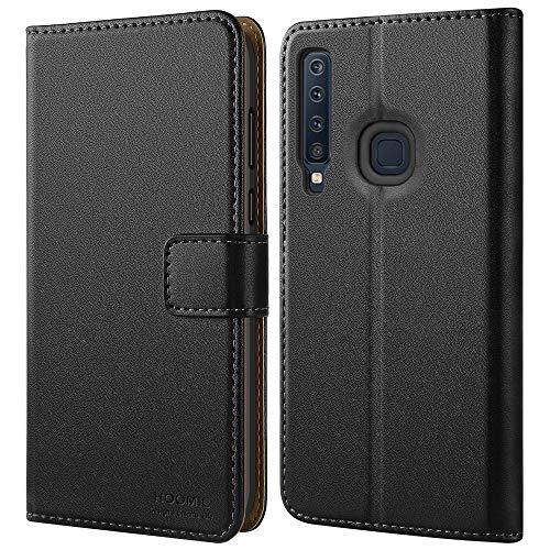 HOOMIL Handyhülle für Samsung Galaxy A9 2018 Hülle, Premium Leder Flip Schutzhülle für Samsung Galaxy A9 2018 Tasche, Schwarz