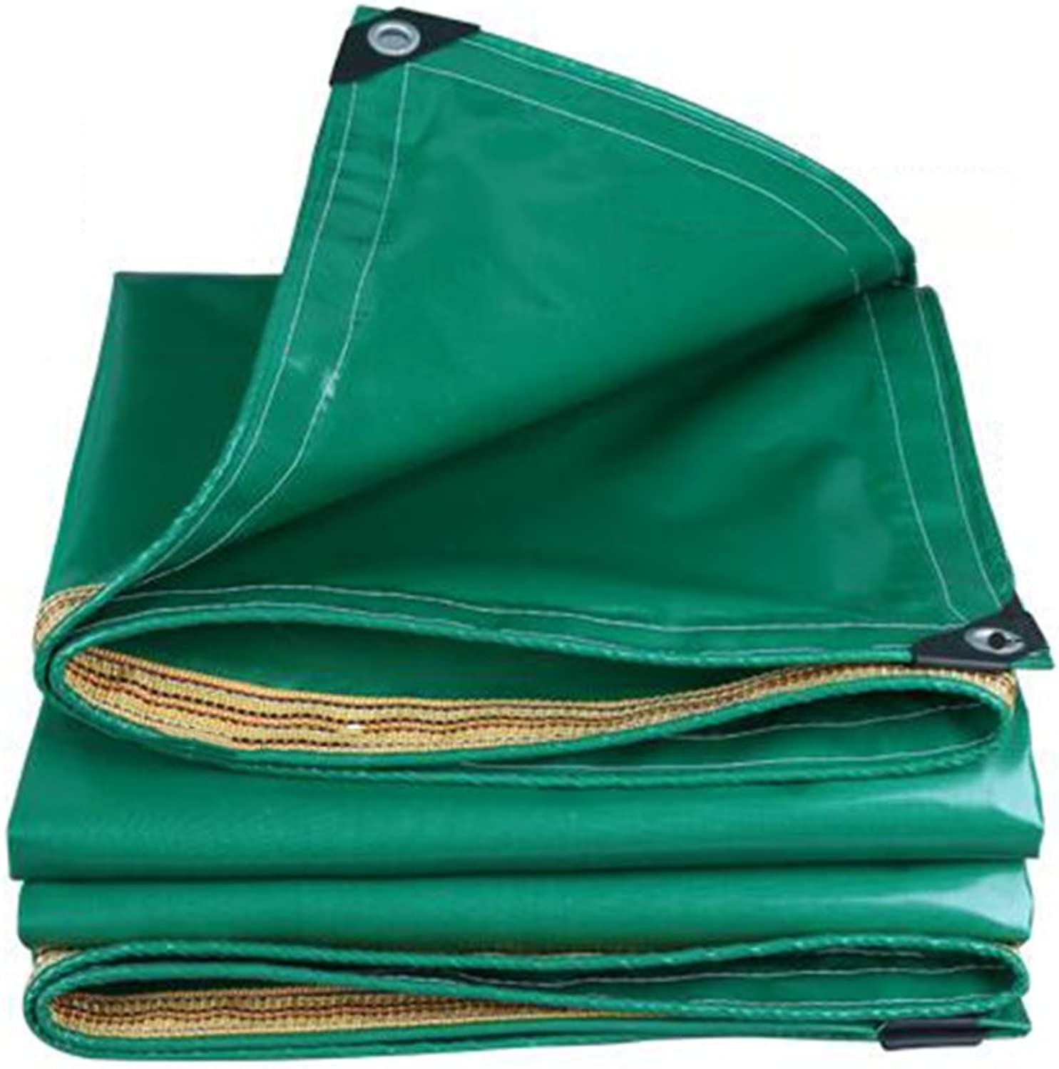 ZEMIN Tarpaulin Waterproof Sunscreen Tent Sheet Windproof Roof Predection Insulation Canvas Polyester, Green, 350G M2, 13 Sizes Available