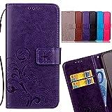 LEMORRY Funda para Xiaomi Redmi 4A Estuches Gofrado Cuero Flip Cover Billetera Piel Protector Magnética con Tarjetas Ranura TPU Silicona Carcasa Tapa para Xiaomi Redmi 4A, Hoja Afortunada (Morado)